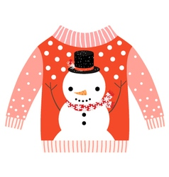 Cute ugly red christmas sweater with snowman vector