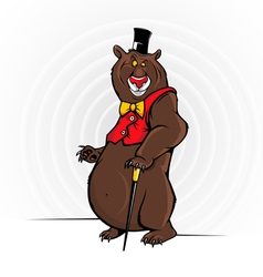 Cheerful cartoon bear with the hat vector