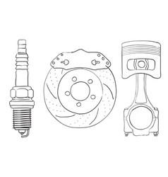 Brake disc piston and spark plug sket vector