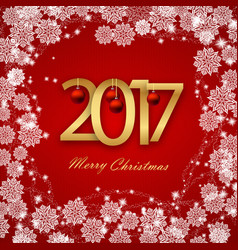 Happy new year 2017 christmas card white text on vector