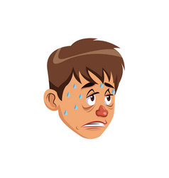 Sick man red nose symptoms and sweating vector