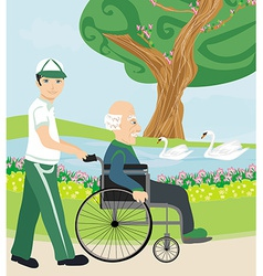 Son pushing senior father on wheelchair outdoors vector