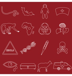 Ebola disease outline white icons set eps10 vector