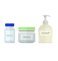 Set of bottles for bath soap vector