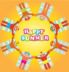 Happy summer beach people vector