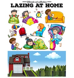 Boys and girls resting at home vector