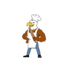 Bald eagle baker chef rolling pin cartoon vector