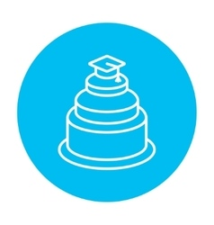 Graduation cap on top of cake line icon vector