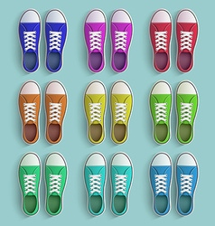 Set of old vintage sneakers vector