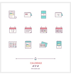 Calendar Line Icons Set vector image
