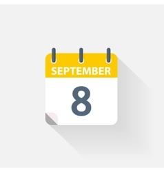 8 september calendar icon vector