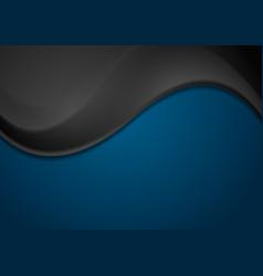 Black and dark blue corporate wavy background vector