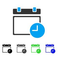 Calendar page and time flat icon vector
