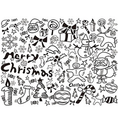 christmas doodles background vector image