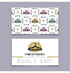 Fashion designer stylist business card modern vector