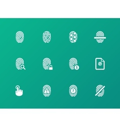 Fingerprint protection icons on green background vector image vector image