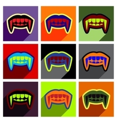 Flat with shadow concept icon vampire teeth a vector