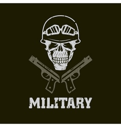 Grunge military emblem with skull and guns vector