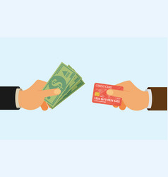 hands holding credit card and money bills flat vector image