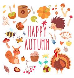 happy autumn cute set vector image vector image