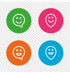 Happy face speech bubble icons pointer symbol vector