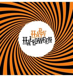 Happy halloween typography on orange rays hypnotic vector