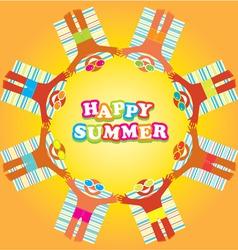 happy summer beach people vector image