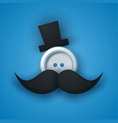 Hat mustachen whisker sewing button vector