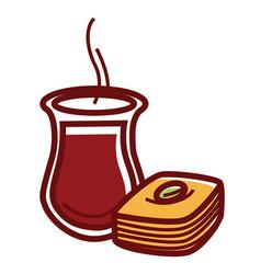 Hot tea in jug and tasty sweet baklava vector