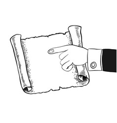 human hand indicates to an empty parchment scroll vector image