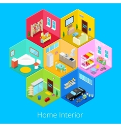 Isometric home house interior with living room vector