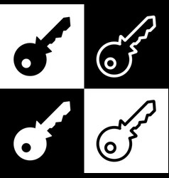 Key sign black and white vector