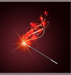 magic wand with magical red sparkle trail vector image vector image