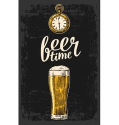 Male hands holding beer glass with antique pocket vector