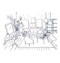 monochrome drawing of interior of living room with vector image