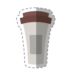 Paper coffee cup fresh cut line vector