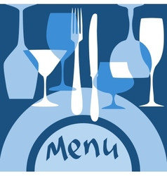 Restaurant menu cover with dishware vector