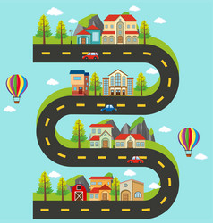roadmap with buildings and cars on the road vector image