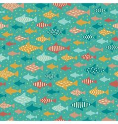 Seamless summer decorative fish pattern vector