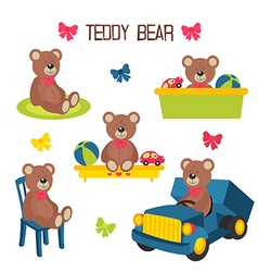 Set of isolated teddy bear vector