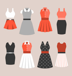 set of woman dress in vintage style vector image