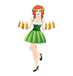 Sexy woman with beer st patricks day vector