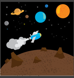 space rocket launch with flying vector image vector image