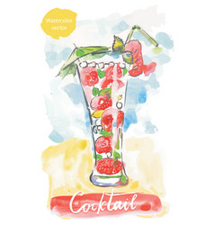 Strawberry cocktail for summer party vector