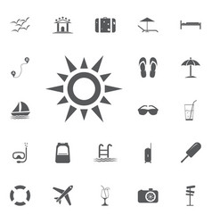 sun line icon summer set vector image