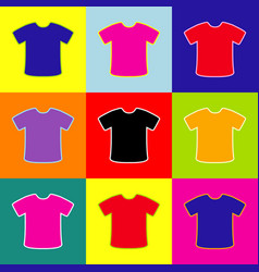 T-shirt sign pop-art style colorful icons vector
