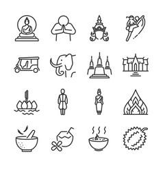 thai icon set vector image vector image