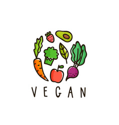 vegan sign isolated on white vector image