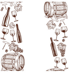 Vertical seamless borders of sketch wine icons vector