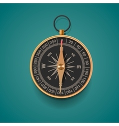 Vintage brass compass isolated background vector